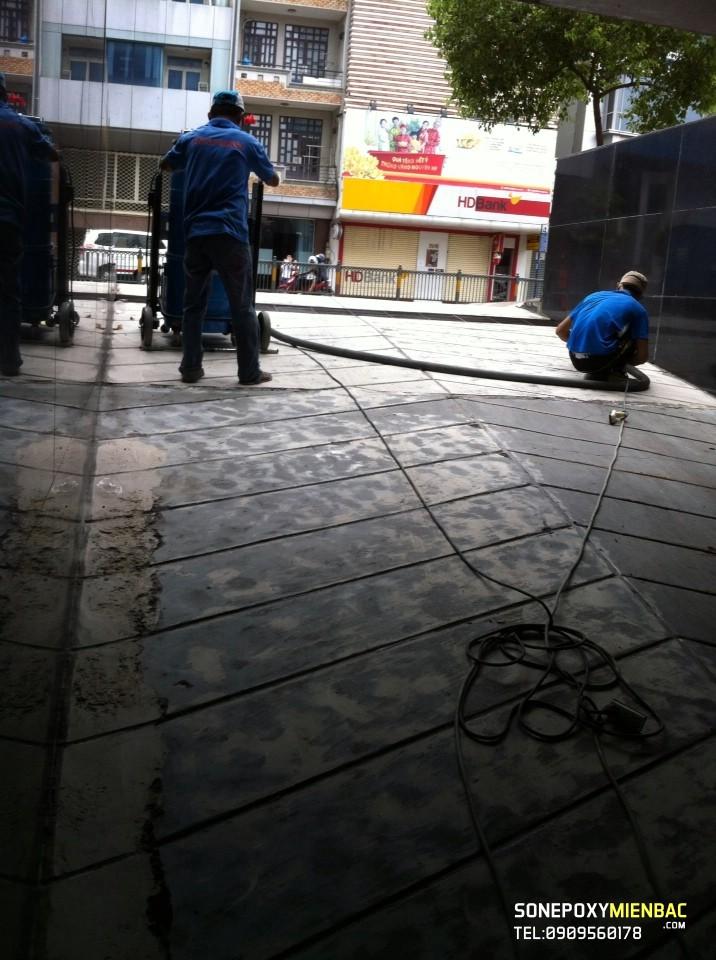 Công trình sơn tầng hầm ngân hàng sacombank